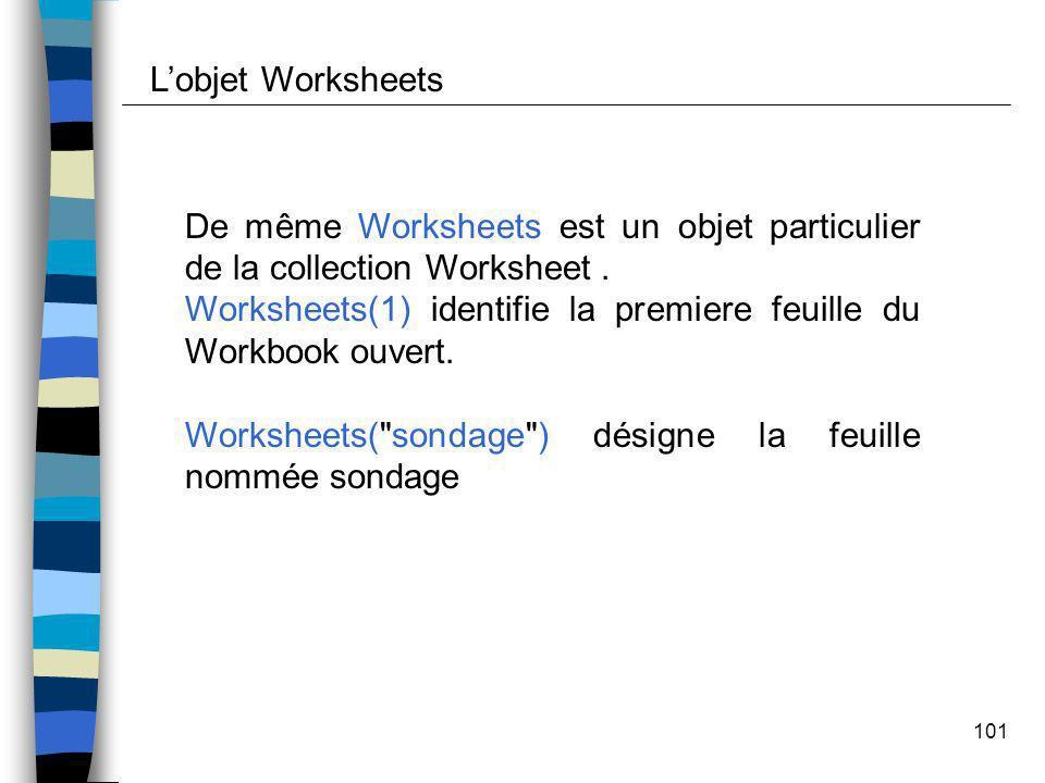 101 De même Worksheets est un objet particulier de la collection Worksheet. Worksheets(1) identifie la premiere feuille du Workbook ouvert. Worksheets