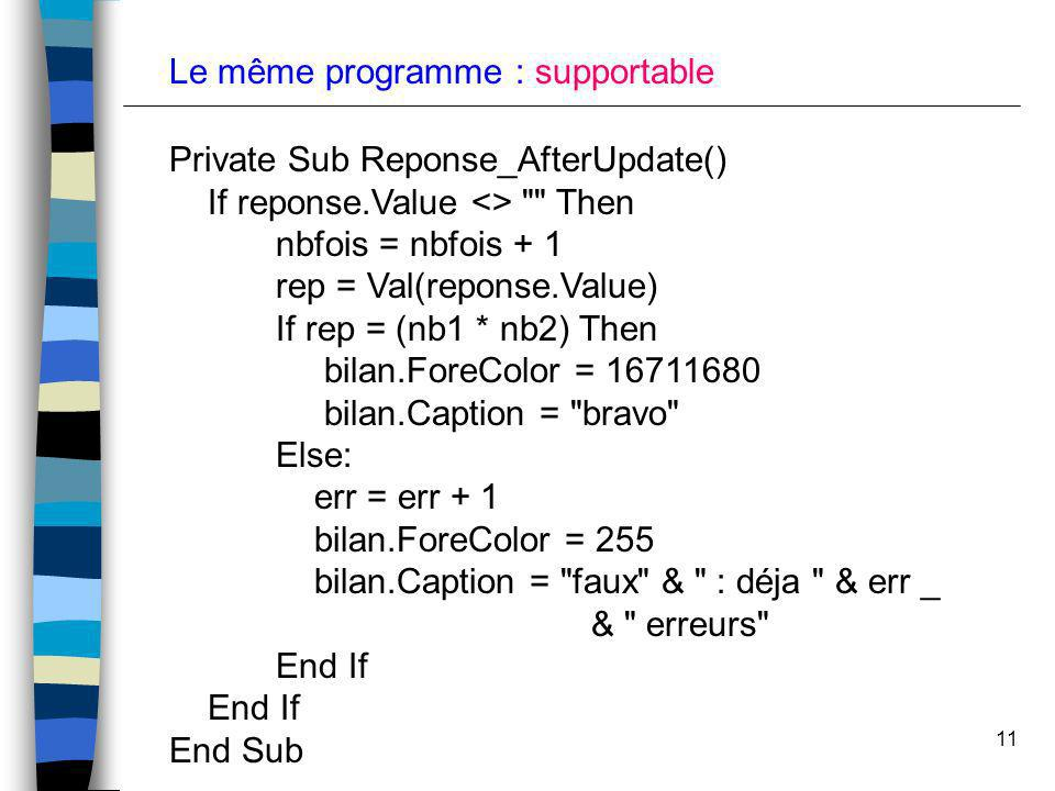 11 Le même programme : supportable Private Sub Reponse_AfterUpdate() If reponse.Value <>
