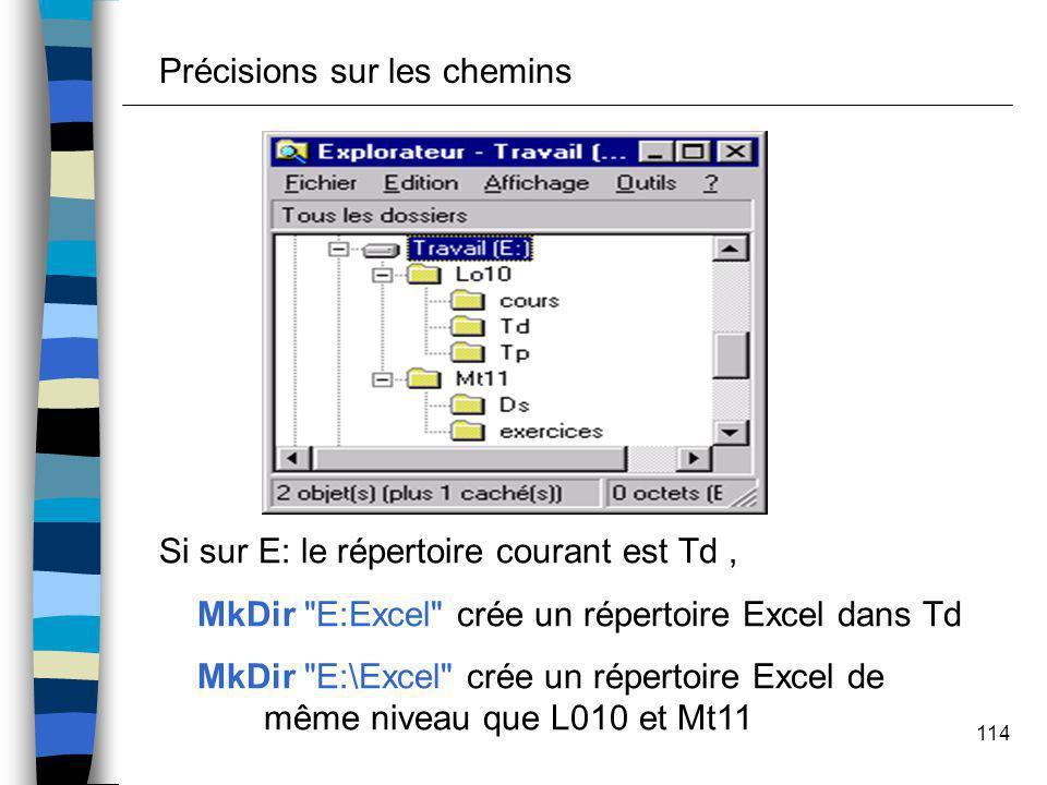 114 Précisions sur les chemins Si sur E: le répertoire courant est Td, MkDir
