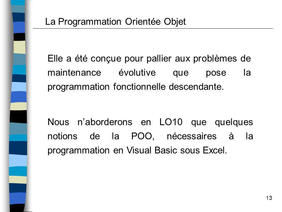 13 La Programmation Orientée Objet Elle a été conçue pour pallier aux problèmes de maintenance évolutive que pose la programmation fonctionnelle desce