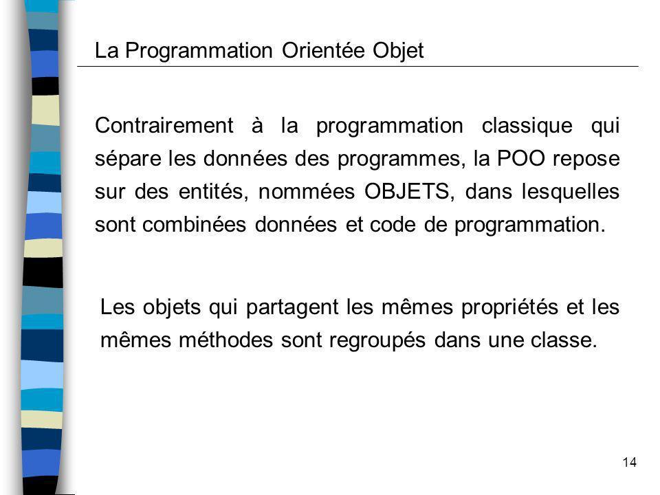 14 Contrairement à la programmation classique qui sépare les données des programmes, la POO repose sur des entités, nommées OBJETS, dans lesquelles so