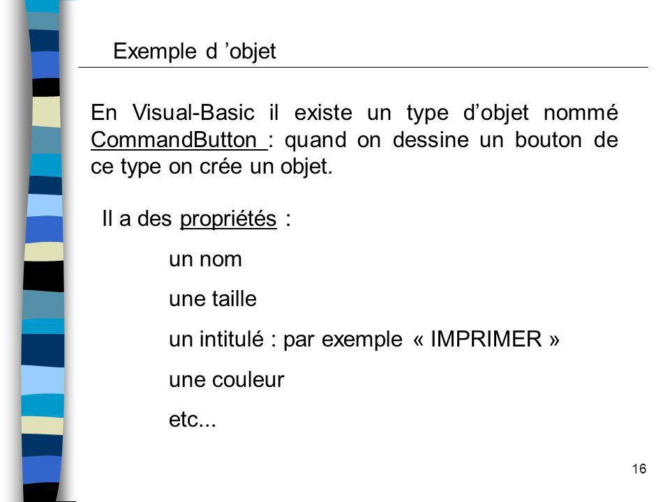 16 Exemple d objet En Visual-Basic il existe un type dobjet nommé CommandButton : quand on dessine un bouton de ce type on crée un objet. Il a des pro