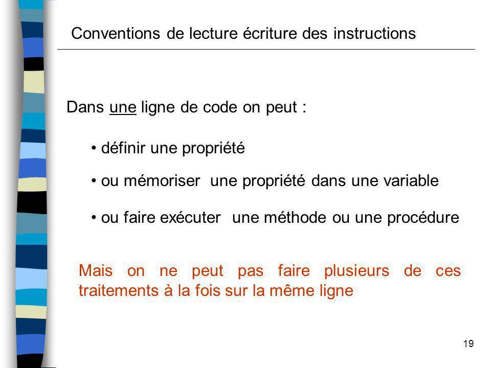19 Conventions de lecture écriture des instructions Dans une ligne de code on peut : définir une propriété ou mémoriser une propriété dans une variabl