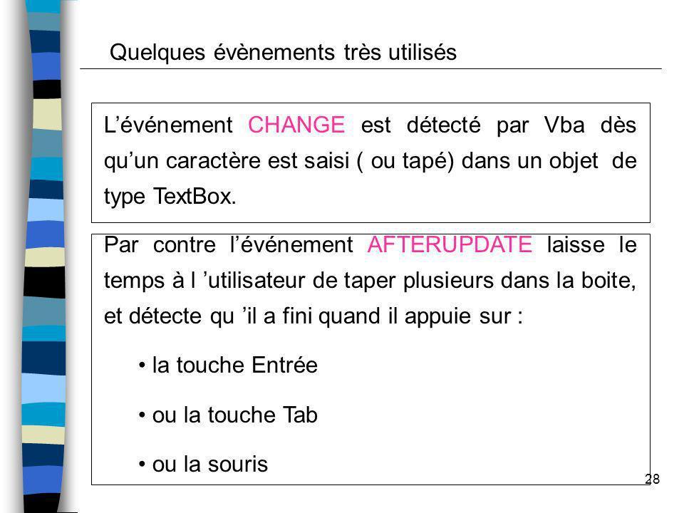28 Lévénement CHANGE est détecté par Vba dès quun caractère est saisi ( ou tapé) dans un objet de type TextBox. Par contre lévénement AFTERUPDATE lais