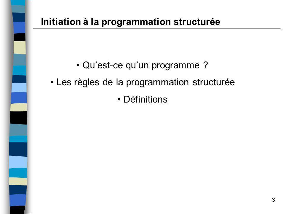 3 Quest-ce quun programme ? Les règles de la programmation structurée Définitions Initiation à la programmation structurée
