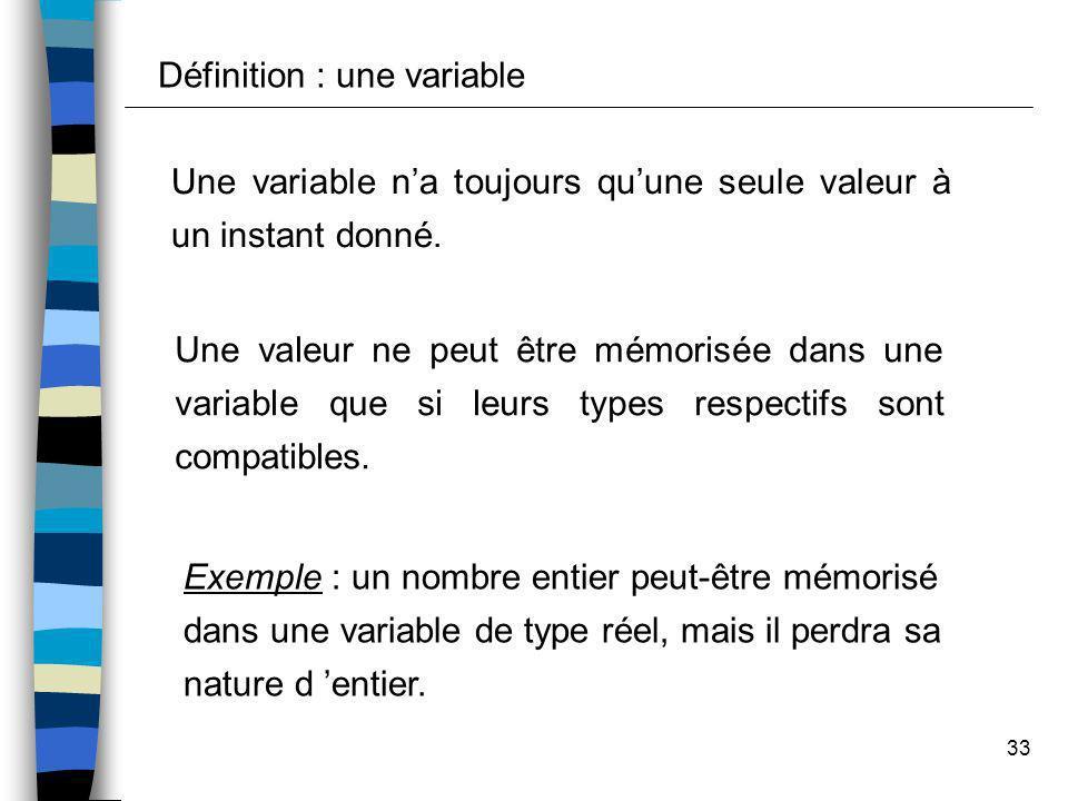 33 Une variable na toujours quune seule valeur à un instant donné. Une valeur ne peut être mémorisée dans une variable que si leurs types respectifs s
