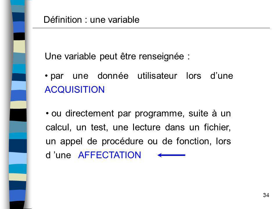 34 Une variable peut être renseignée : par une donnée utilisateur lors dune ACQUISITION ou directement par programme, suite à un calcul, un test, une