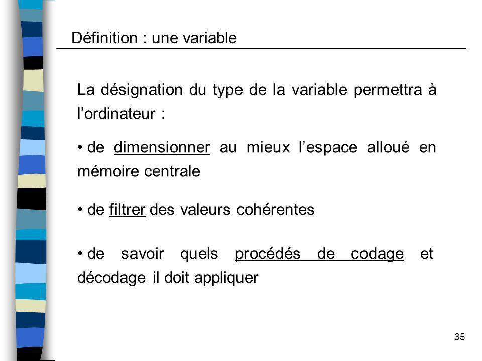 35 La désignation du type de la variable permettra à lordinateur : de dimensionner au mieux lespace alloué en mémoire centrale de filtrer des valeurs