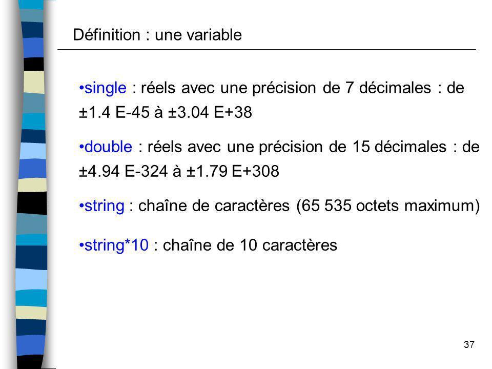 37 single : réels avec une précision de 7 décimales : de ±1.4 E-45 à ±3.04 E+38 double : réels avec une précision de 15 décimales : de ±4.94 E-324 à ±