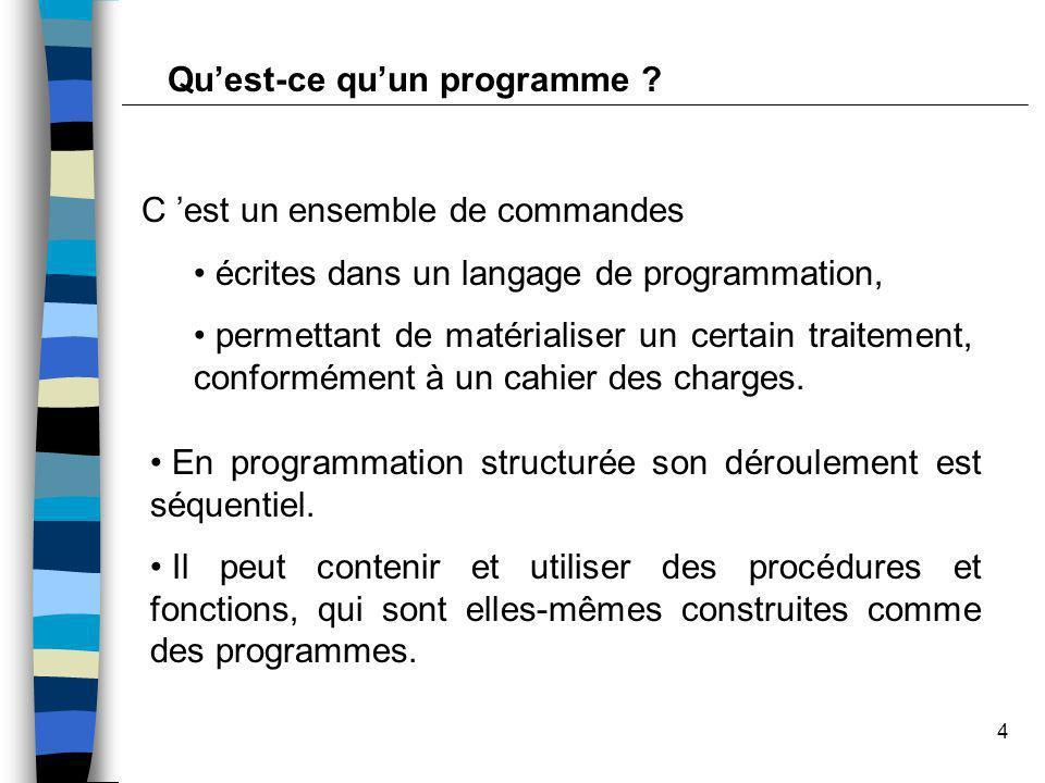 4 C est un ensemble de commandes écrites dans un langage de programmation, permettant de matérialiser un certain traitement, conformément à un cahier