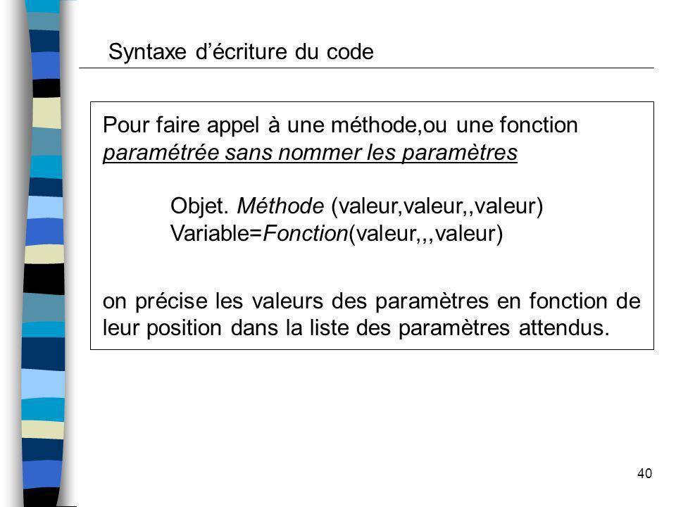 40 Pour faire appel à une méthode,ou une fonction paramétrée sans nommer les paramètres Objet. Méthode (valeur,valeur,,valeur) Variable=Fonction(valeu