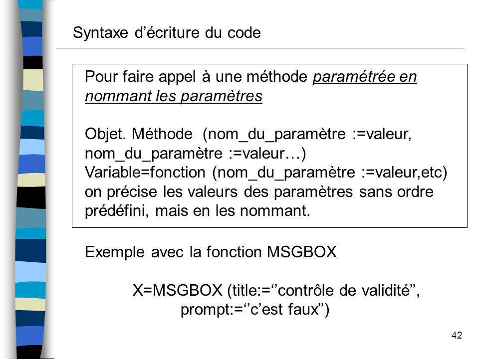 42 Pour faire appel à une méthode paramétrée en nommant les paramètres Objet. Méthode (nom_du_paramètre :=valeur, nom_du_paramètre :=valeur…) Variable