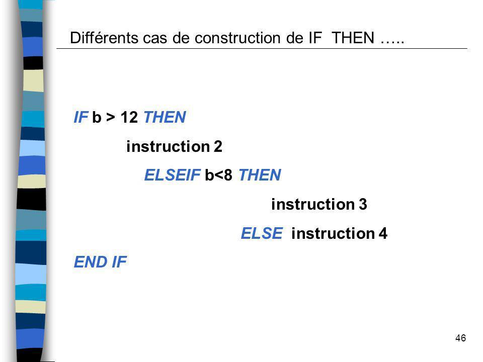 46 Différents cas de construction de IF THEN ….. IF b > 12 THEN instruction 2 ELSEIF b<8 THEN instruction 3 ELSE instruction 4 END IF