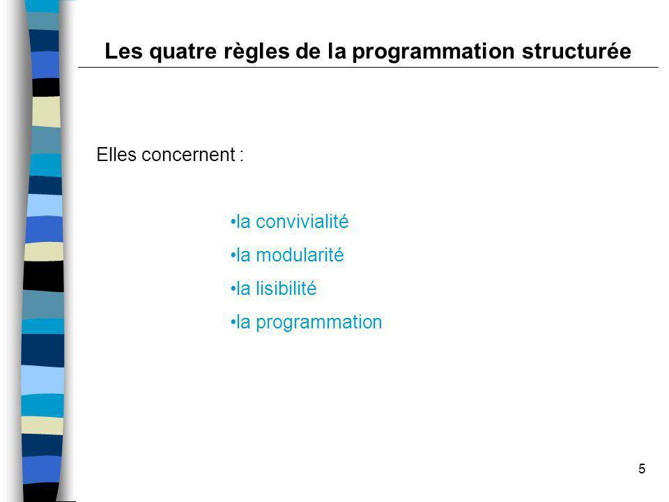 5 Elles concernent : la convivialité la modularité la lisibilité la programmation Les quatre règles de la programmation structurée