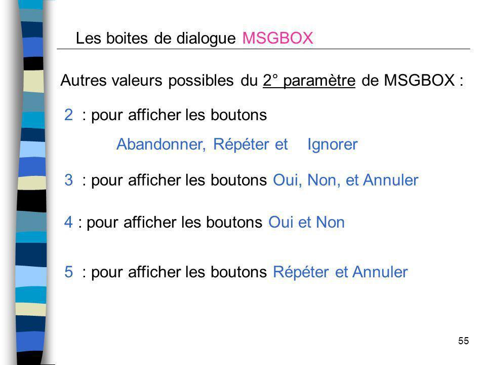 55 Autres valeurs possibles du 2° paramètre de MSGBOX : 2 : pour afficher les boutons Abandonner, Répéter et Ignorer 3 : pour afficher les boutons Oui