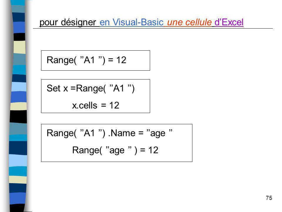 75 pour désigner en Visual-Basic une cellule dExcel Range( A1 ) = 12 Set x =Range( A1 ) x.cells = 12 Range( A1 ).Name = age Range( age ) = 12