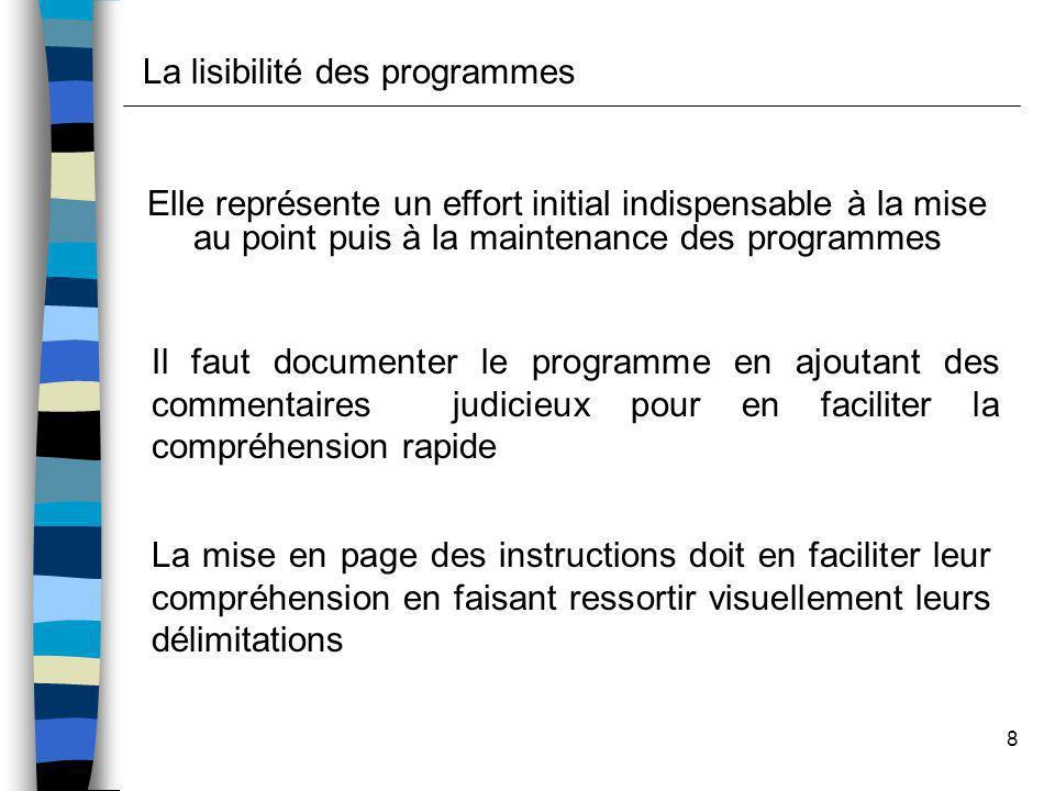 8 Elle représente un effort initial indispensable à la mise au point puis à la maintenance des programmes Il faut documenter le programme en ajoutant