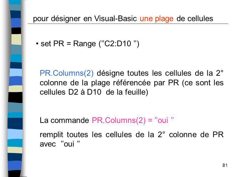 81 set PR = Range (C2:D10 ) pour désigner en Visual-Basic une plage de cellules PR.Columns(2) désigne toutes les cellules de la 2° colonne de la plage