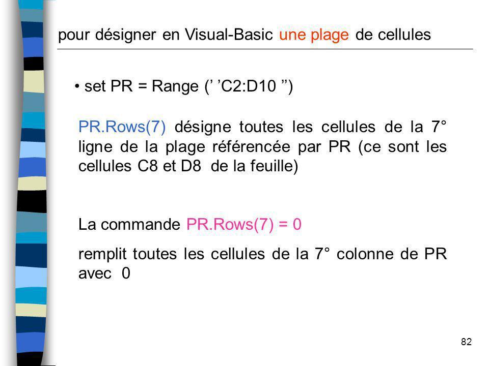 82 set PR = Range ( C2:D10 ) pour désigner en Visual-Basic une plage de cellules PR.Rows(7) désigne toutes les cellules de la 7° ligne de la plage réf