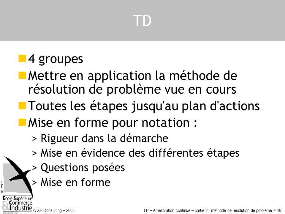 © XP Consulting – 2005LP – Amélioration continue – partie 2 : méthode de résolution de problème > 16 TD 4 groupes Mettre en application la méthode de