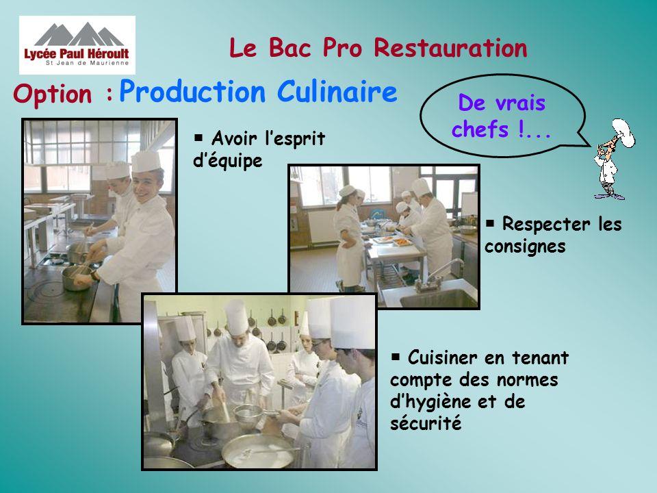 Le Bac Pro Restauration Production Culinaire Option : Avoir lesprit déquipe Respecter les consignes Cuisiner en tenant compte des normes dhygiène et d