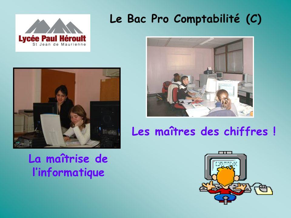 Le Bac Pro Comptabilité (C) Les maîtres des chiffres ! La maîtrise de linformatique