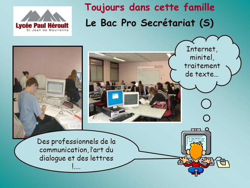 Toujours dans cette famille Le Bac Pro Secrétariat (S) Des professionnels de la communication, lart du dialogue et des lettres !.... Internet, minitel