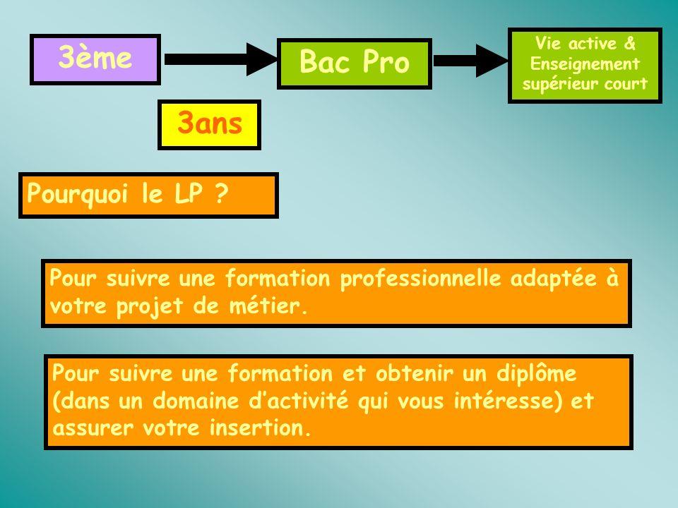 3ème Bac Pro 3ans Pourquoi le LP ? Pour suivre une formation professionnelle adaptée à votre projet de métier. Pour suivre une formation et obtenir un