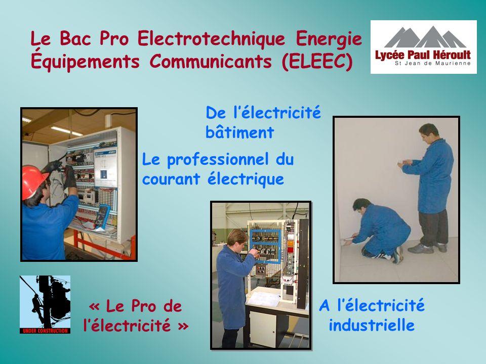 Le Bac Pro Electrotechnique Energie Équipements Communicants (ELEEC) Le professionnel du courant électrique A lélectricité industrielle De lélectricit
