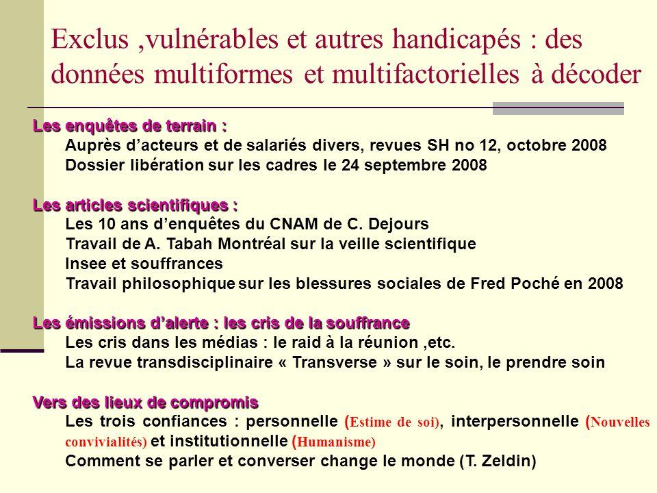 Exclus,vulnérables et autres handicapés : des données multiformes et multifactorielles à décoder Les enquêtes de terrain: Les enquêtes de terrain : Au