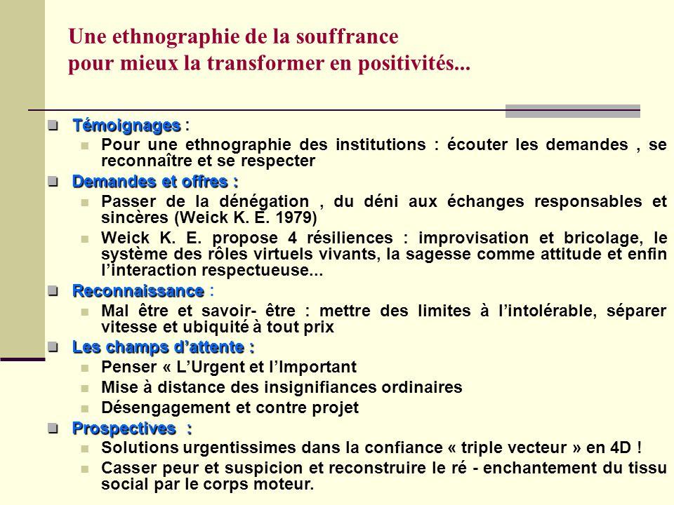 Une ethnographie de la souffrance pour mieux la transformer en positivités... Témoignages : Témoignages : Pour une ethnographie des institutions : éco