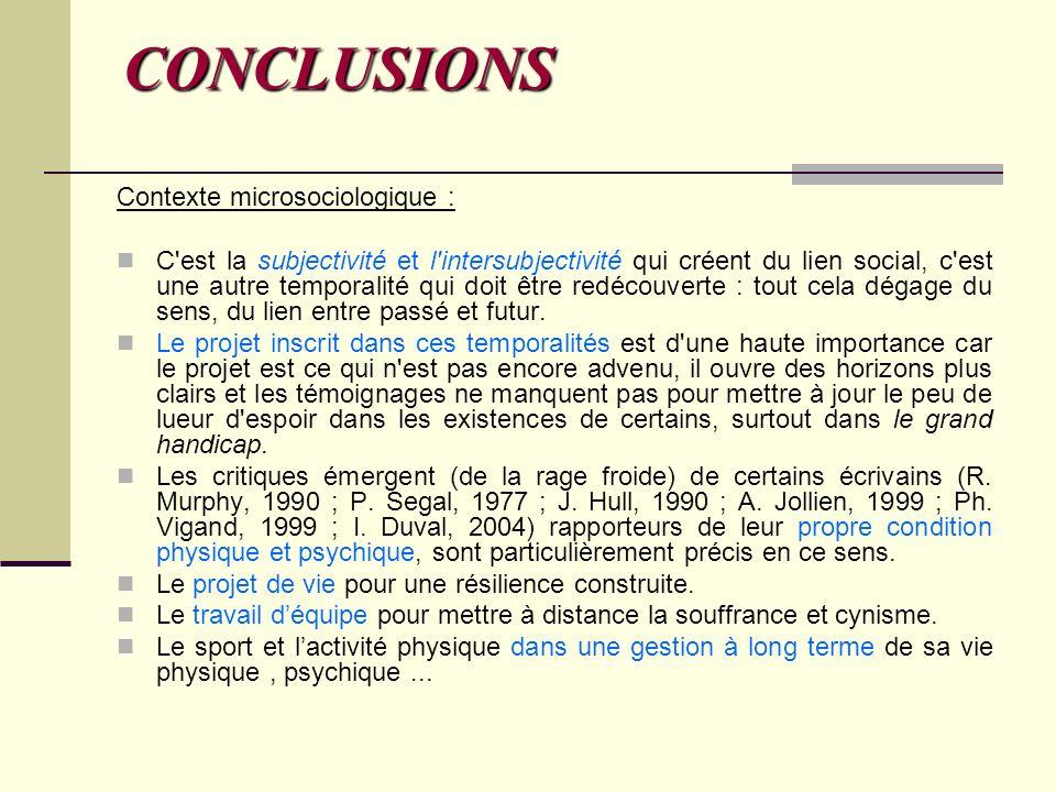 CONCLUSIONS Contexte microsociologique : C'est la subjectivité et l'intersubjectivité qui créent du lien social, c'est une autre temporalité qui doit