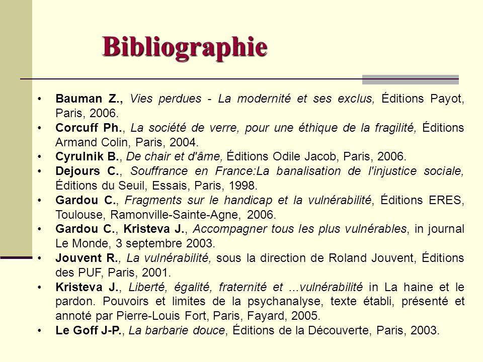 Bibliographie Bauman Z., Vies perdues - La modernité et ses exclus, Éditions Payot, Paris, 2006. Corcuff Ph., La société de verre, pour une éthique de