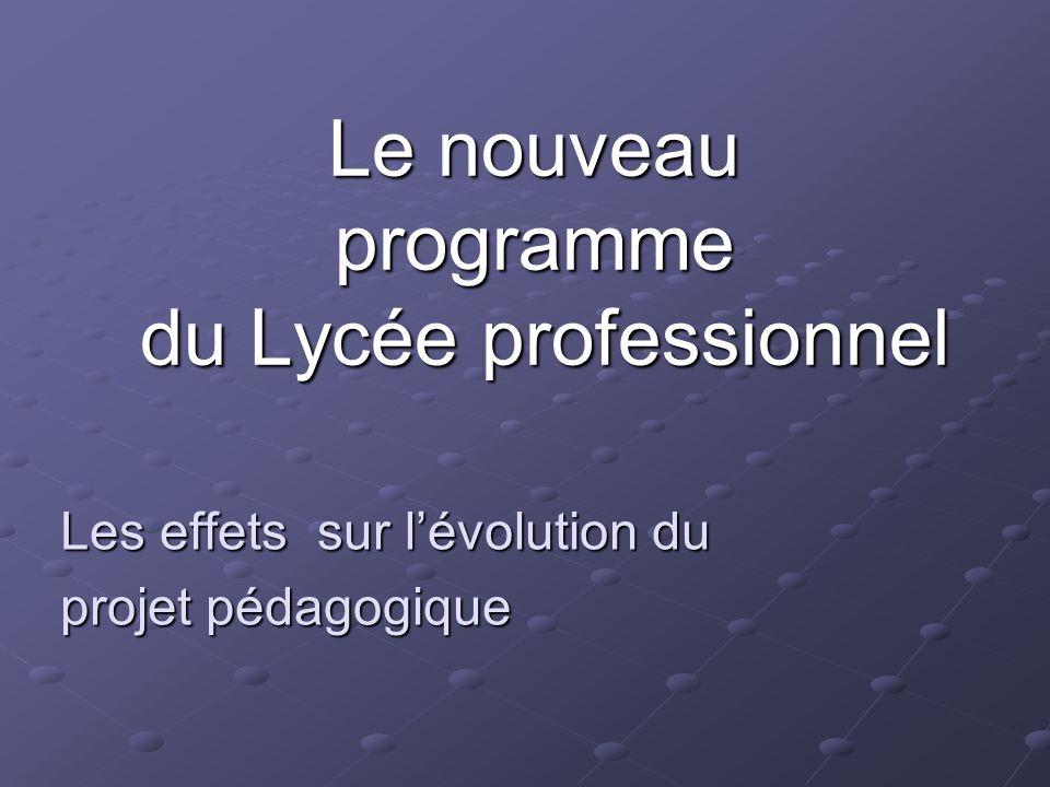 Le nouveau programme du Lycée professionnel Les effets sur lévolution du projet pédagogique