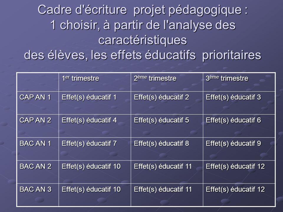 Cadre d'écriture projet pédagogique : 1 choisir, à partir de l'analyse des caractéristiques des élèves, les effets éducatifs prioritaires 1 er trimest