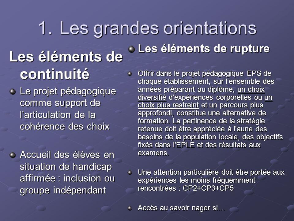 Les éléments de continuité Le projet pédagogique comme support de larticulation de la cohérence des choix Accueil des élèves en situation de handicap