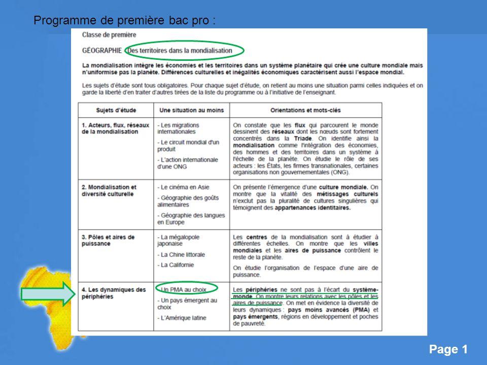 Page 2 Objectifs de séance : -Compléter la notion de mondialisation, -Analyser limpact de la mondialisation sur les périphéries, -Mettre en évidence les relations entre périphéries et aires de puissance.