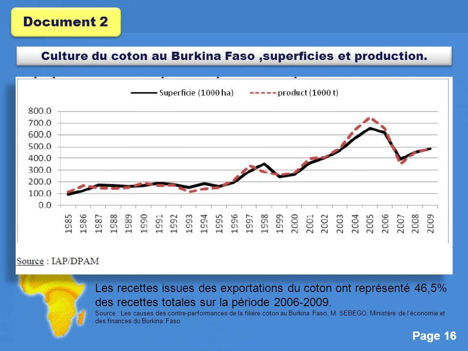 Page 16 Les recettes issues des exportations du coton ont représenté 46,5% des recettes totales sur la période 2006-2009.