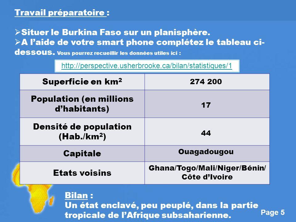 Page 5 Travail préparatoire : Situer le Burkina Faso sur un planisphère.