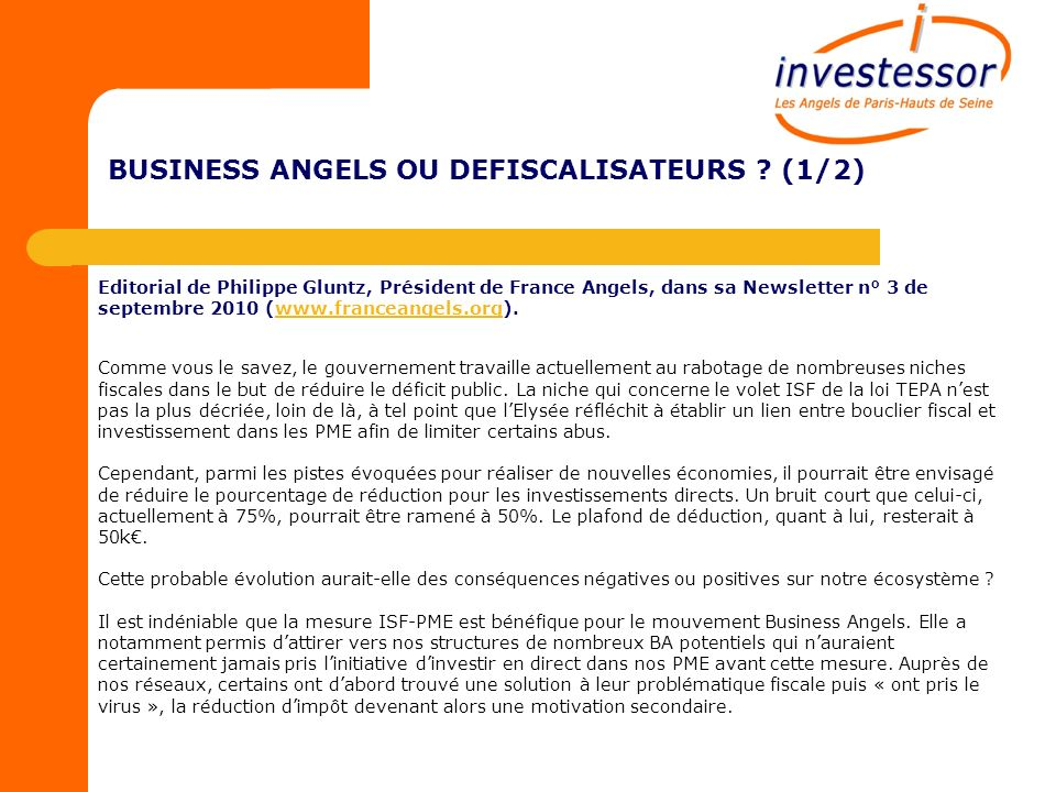 BUSINESS ANGELS OU DEFISCALISATEURS .
