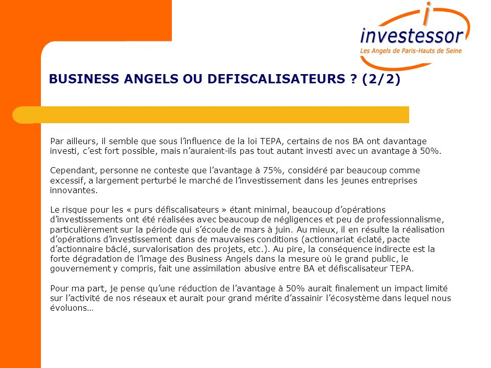 LE COUP DŒIL – VALORISATION DES STARTUP (1/3) Le tableau ci-dessous matérialise des informations communiquées par France Angels au sujet des montants des valorisations des projets soutenus par les réseaux de Business Angels en 2009.