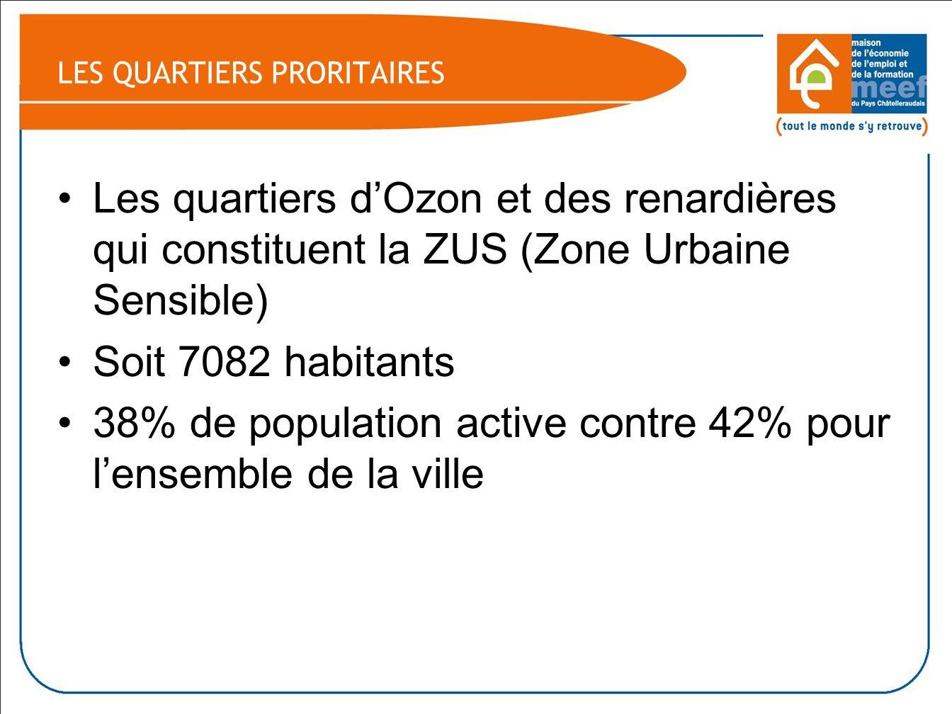 Les quartiers dOzon et des renardières qui constituent la ZUS (Zone Urbaine Sensible) Soit 7082 habitants 38% de population active contre 42% pour lensemble de la ville LES QUARTIERS PRORITAIRES