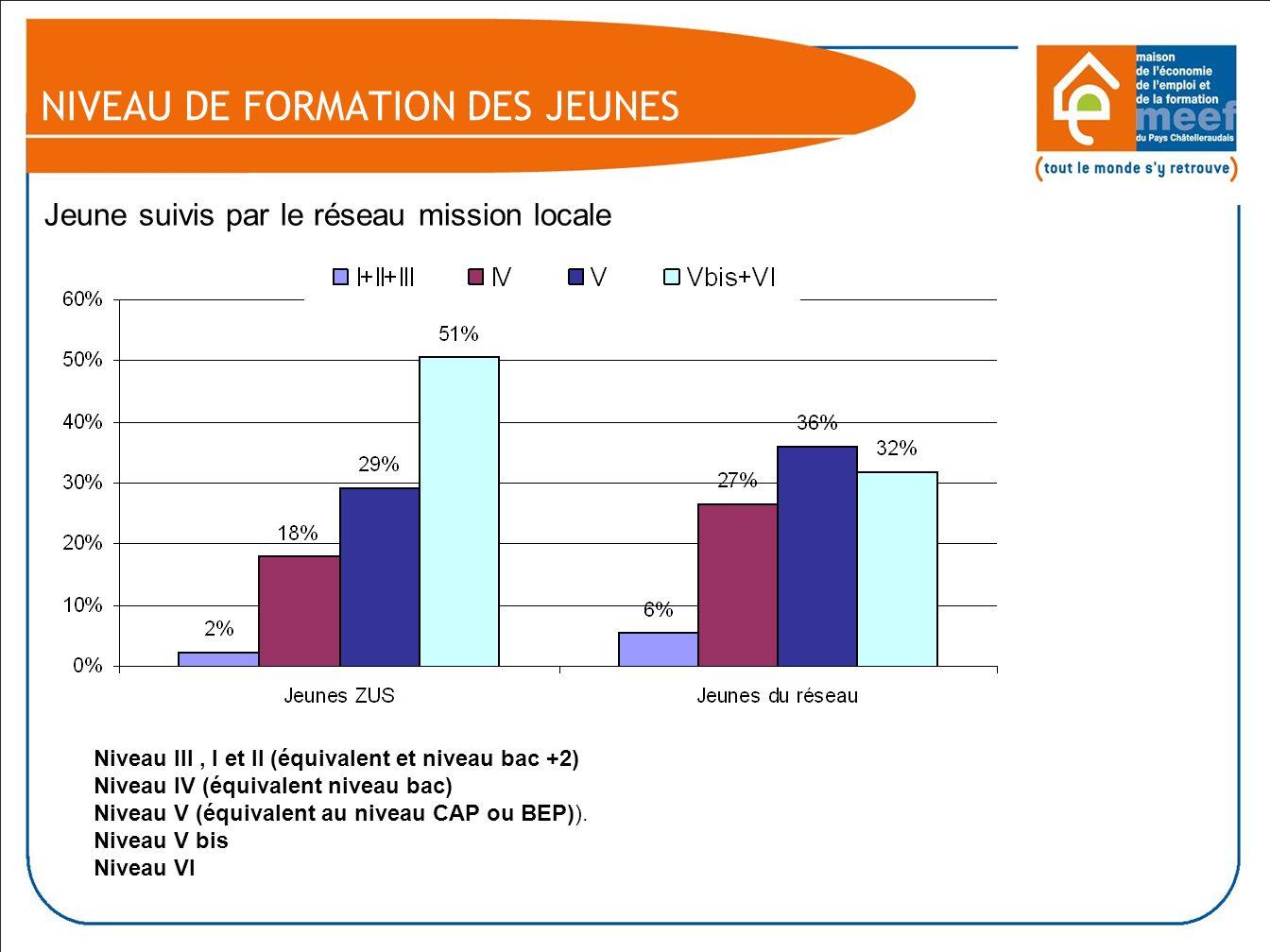 NIVEAU DE FORMATION DES JEUNES Jeune suivis par le réseau mission locale Niveau III, I et II (équivalent et niveau bac +2) Niveau IV (équivalent niveau bac) Niveau V (équivalent au niveau CAP ou BEP)).