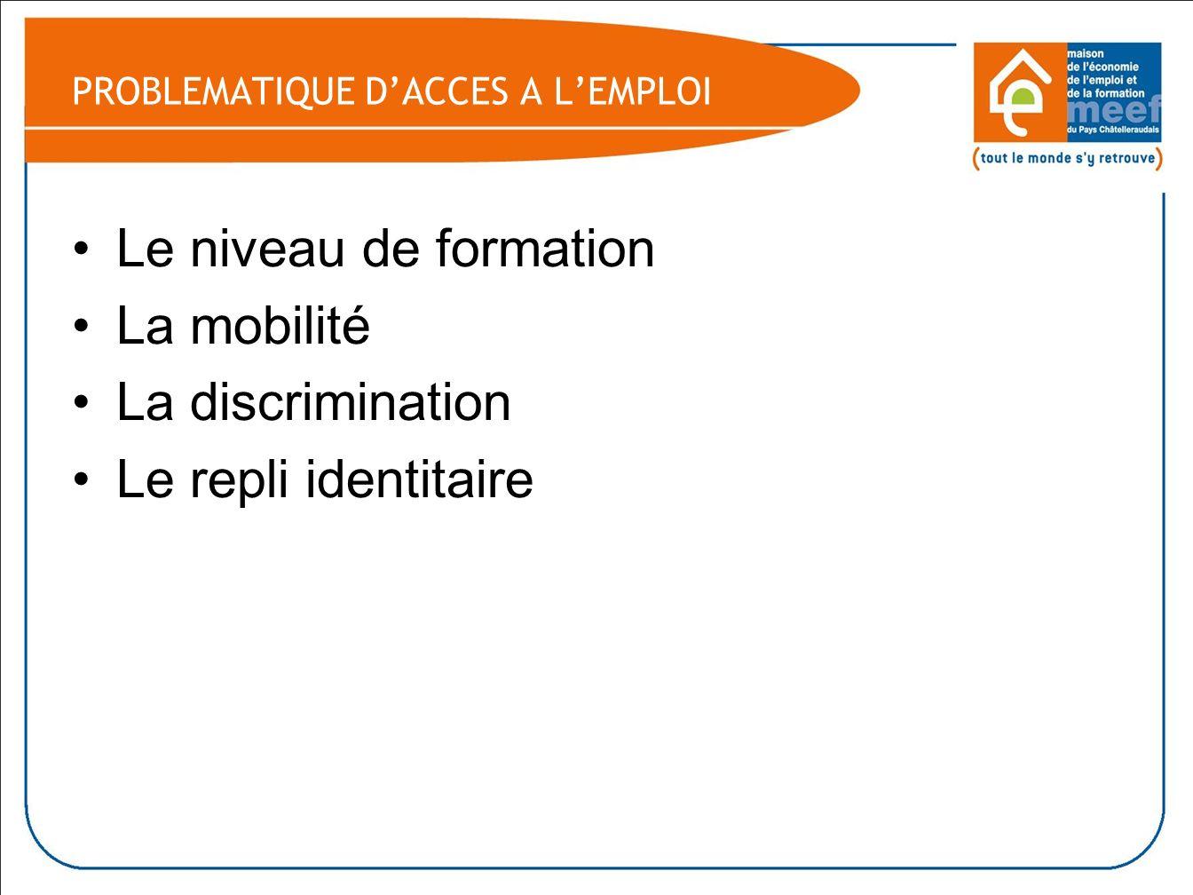 PROBLEMATIQUE DACCES A LEMPLOI Le niveau de formation La mobilité La discrimination Le repli identitaire