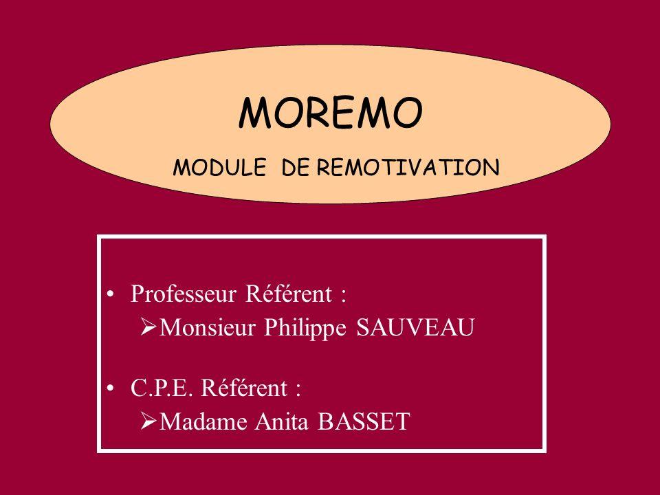 MOREMO MODULE DE REMOTIVATION Professeur Référent : Monsieur Philippe SAUVEAU C.P.E. Référent : Madame Anita BASSET