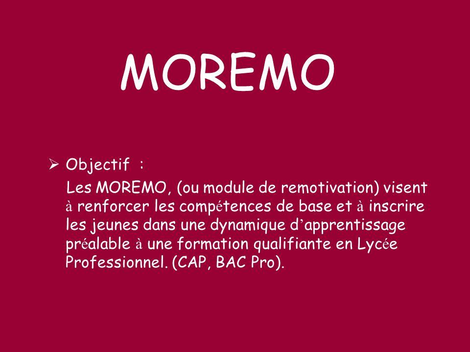 Objectif : Les MOREMO, (ou module de remotivation) visent à renforcer les comp é tences de base et à inscrire les jeunes dans une dynamique d apprenti