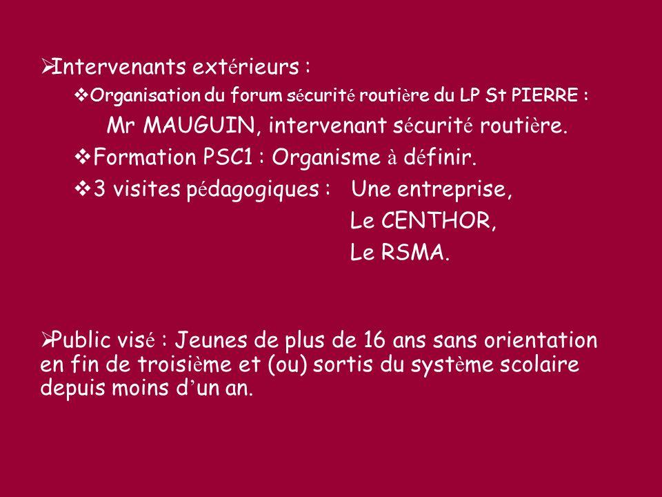 Intervenants ext é rieurs : Organisation du forum s é curit é routi è re du LP St PIERRE : Mr MAUGUIN, intervenant s é curit é routi è re. Formation P