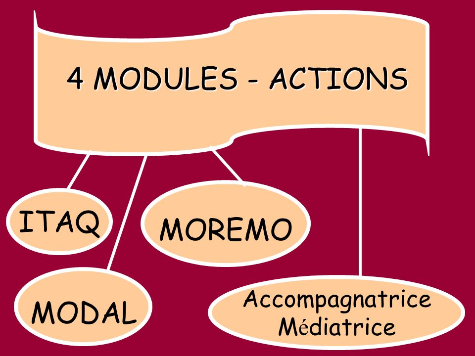 ITAQ MOREMO MODAL 4 MODULES - ACTIONS Accompagnatrice M é diatrice