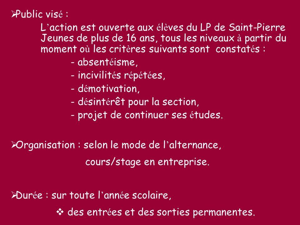 Public vis é : L action est ouverte aux é l è ves du LP de Saint-Pierre Jeunes de plus de 16 ans, tous les niveaux à partir du moment o ù les crit è r