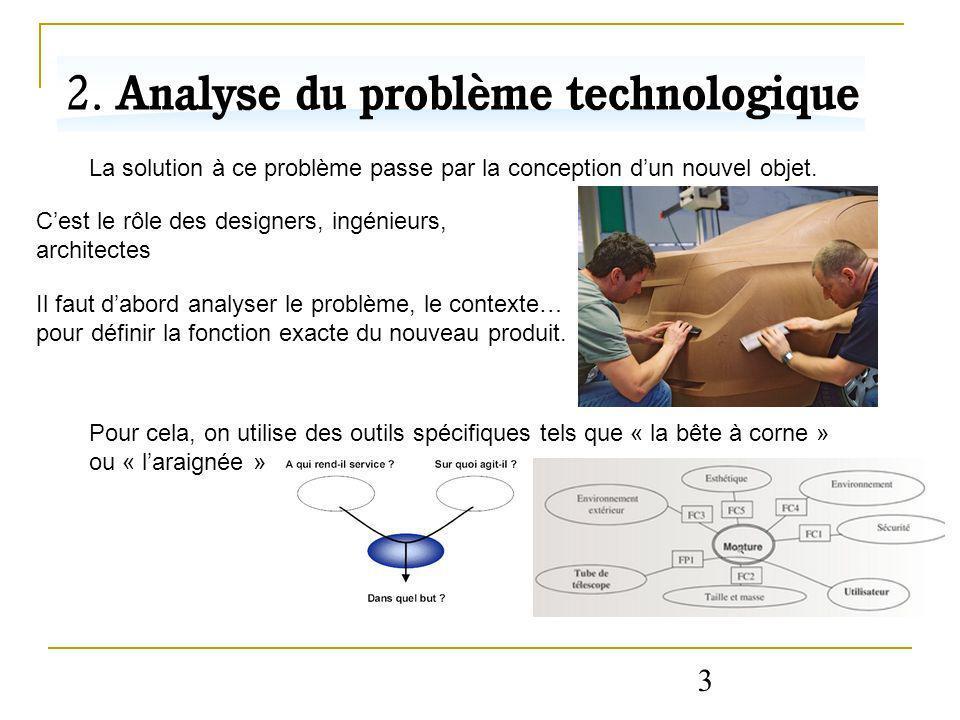 3 La solution à ce problème passe par la conception dun nouvel objet. Cest le rôle des designers, ingénieurs, architectes Il faut dabord analyser le p